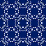 Abstraktes nahtloses Muster, Weinlesevektorverzierungs-, Blauer und weißerhintergrund Lizenzfreie Stockbilder