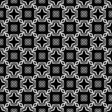 Abstraktes, nahtloses Schwarzweiss-Muster folgte von den geomatrical großen und kleinen Blumen vektor abbildung
