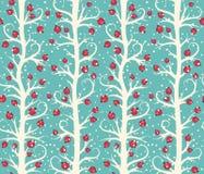 Abstraktes nahtloses Weihnachtswinter-Muster mit Beeren auf Bäumen Lizenzfreie Stockbilder