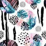 Abstraktes natürliches nahtloses Muster spornte durch Memphis-Art an lizenzfreie abbildung