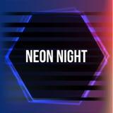 Abstraktes Neonsechseckiges Glühendes Feld Elektrisches Symbol der Weinlese Gestaltungselement für Ihre Anzeige, Zeichen, Plakat, Stockbild