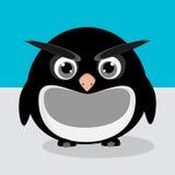 Abstraktes nettes verärgertes pinguin auf einem blauen Hintergrund vektor abbildung