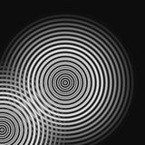 Abstraktes oszillierendes weißes Licht der Schallwellen auf schwarzem Hintergrund lizenzfreie stockfotos
