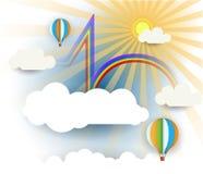 Abstraktes Papier schnitt mit Sonnenschein, Wolke, Regenbogen und Ballon auf hellblauem Hintergrund mit Leerstelle für Design Lizenzfreies Stockfoto