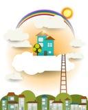 Abstraktes Papierschnittphantasieausgangssüßes Haus, -sonne, -regenbogen mit Wolke und -himmel Stockfotos