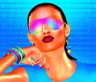Abstraktes Party-Girl mit dem Brunettehaar Lizenzfreies Stockbild
