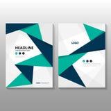 Abstraktes Polygonjahresbericht Broschüren-Broschüren-Fliegerschablonendesign des blauen Grüns des Dreiecks purpurrotes, Bucheinb Stockbild