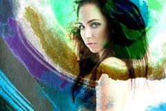Abstraktes Porträt eines Mädchens im Aquarell Lizenzfreies Stockbild