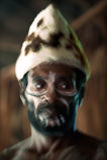 Abstraktes Portrait des Asmat Kriegers Stockfotos