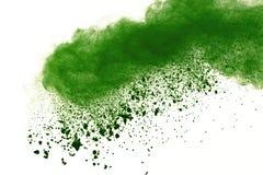 Abstraktes Pulver splatted Hintergrund, Frostbewegung des grünen explodierenden/werfenden grünen Staubes des Pulvers lizenzfreie stockfotografie