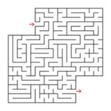 Abstraktes Quadrat lokalisiertes Labyrinth Schwarze Farbe Ein interessantes und nützliches Spiel für Kinder und Erwachsene Einfac Lizenzfreie Abbildung