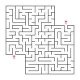Abstraktes Quadrat lokalisiertes Labyrinth Schwarze Farbe Ein interessantes und nützliches Spiel für Kinder und Erwachsene Einfac Stock Abbildung