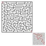 Abstraktes quadratisches Labyrinth Ein interessantes Spiel für Kinder und Jugendliche Einfache flache Vektorillustration lokalisi Stock Abbildung