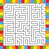 Abstraktes quadratisches Labyrinth in einem Rahmen von hellen Quadraten Ein interessantes Spiel für Kinder und Jugendliche Einfac Vektor Abbildung