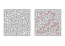 Abstraktes quadratisches Labyrinth Einfache flache Vektorillustration lokalisiert auf weißem Hintergrund Mit der Antwort Vektor Abbildung