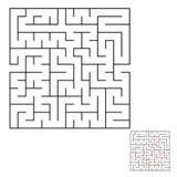 Abstraktes quadratisches Labyrinth mit einem schwarzen Anschlag Ein interessantes Spiel für Kinder und Erwachsene Einfaches flach Stock Abbildung