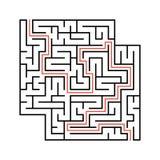 Abstraktes quadratisches Labyrinth mit Eingang und Ausgang Einfache flache Vektorillustration lokalisiert auf weißem Hintergrund  Stock Abbildung