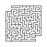 Abstraktes quadratisches Labyrinth mit Eingang und Ausgang Einfache flache Vektorillustration lokalisiert auf weißem Hintergrund  Vektor Abbildung