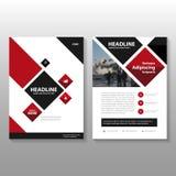 Abstraktes quadratisches rotes schwarzes Broschüren-Broschüren-Fliegerschablonendesign, Bucheinband-Plandesign Lizenzfreie Stockfotografie
