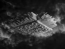Abstraktes Raumschiff mit 3d verdrängte Oberfläche Stockfoto