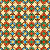 Abstraktes Retro- geometrisches nahtloses Muster Gelber Hintergrund Stockbild