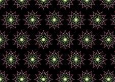 Abstraktes rosa Neonblumen-Muster auf schwarzem Hintergrund Lizenzfreies Stockfoto