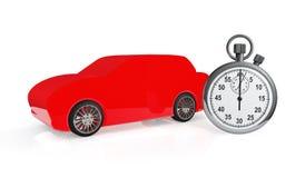 Abstraktes rotes Auto mit Stoppuhr Stockfoto