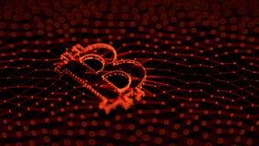 Abstraktes rotes Bitcoin-Zeichen errichtet als Reihe Geschäfte in Begriffs-Illustration 3d Blockchain Lizenzfreies Stockbild