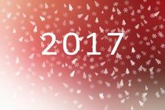 Abstraktes Rotes des guten Rutsch ins Neue Jahr 2017 und weiß mit Schneeflocken und Weihnachtsbaum für Hintergrund Stockbilder