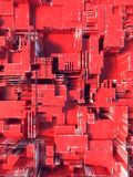 Abstraktes rotes futuristisches techno Muster Illustration Digital 3d Lizenzfreies Stockfoto