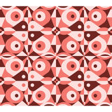 Abstraktes rotes geometrisches nahtloses Muster Stockfotos