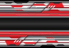 Abstraktes rotes graues Metall futuristisch mit schwarzem Bankraum für Textplatz lizenzfreie abbildung
