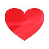 Abstraktes rotes Herz auf weißem Tapetenhintergrund Stockfotografie