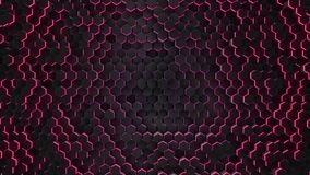 Abstraktes rotes Hexagon mit Neongeometriehintergrund stock video footage