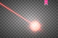 Abstraktes rotes Laserstrahl Laser-Sicherheitsstrahl lokalisiert auf transparentem Hintergrund Heller Strahl mit Glühenzielblitz lizenzfreie abbildung
