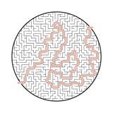 Abstraktes rundes Labyrinth Spiel für Kinder Puzzlespiel für Kinder Ein Eingang, ein Ausgang Labyrinthvexierfrage Flache Vektoril vektor abbildung