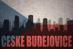 Abstraktes Schattenbild der Stadt mit Text Ceske Budejovice an der Flagge der Tschechischen Republik der Weinlese Lizenzfreie Stockbilder