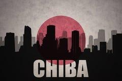 Abstraktes Schattenbild der Stadt mit Text Chiba an der Weinlesejapanerflagge Stockfotos
