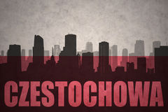 Abstraktes Schattenbild der Stadt mit Text Czestochowa an der Weinlesepoliturflagge Lizenzfreies Stockfoto