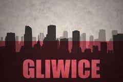 Abstraktes Schattenbild der Stadt mit Text Gliwice an der Weinlesepoliturflagge lizenzfreie abbildung