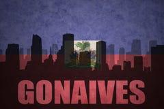 Abstraktes Schattenbild der Stadt mit Text Gonaives an der Weinlesehaitianerflagge Stockfotos
