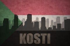 Abstraktes Schattenbild der Stadt mit Text Kosti an der Weinlesesudaneseflagge Stockfoto