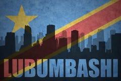 Abstraktes Schattenbild der Stadt mit Text Lubumbashi an der Flagge des Weinlesedemokratischen republiken kongo stock abbildung