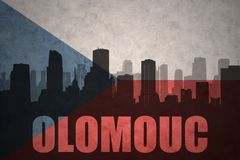 Abstraktes Schattenbild der Stadt mit Text Olomouc an der Flagge der Tschechischen Republik der Weinlese Lizenzfreies Stockbild