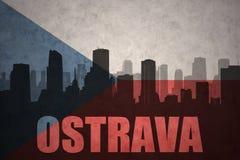 Abstraktes Schattenbild der Stadt mit Text Ostrava an der Flagge der Tschechischen Republik der Weinlese Stockbilder