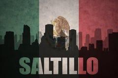 Abstraktes Schattenbild der Stadt mit Text Saltillo an der Weinlesemexikanischen flagge Stockbild