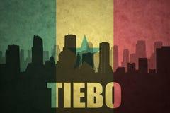 Abstraktes Schattenbild der Stadt mit Text Tiebo an der Weinlesesenegalese-Flagge Stockfotografie