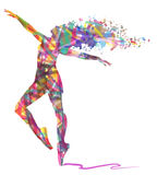 Abstraktes Schattenbild des Tänzers und der musikalischen Anmerkungen Lizenzfreie Stockbilder