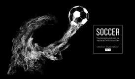 Abstraktes Schattenbild eines Fußballballs auf Dunkelheit lizenzfreie stockfotos