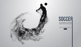 Abstraktes Schattenbild eines Fußballspielers auf dem weißen Hintergrund von den Partikeln Laufendes Springen des Fußballspielers lizenzfreie stockbilder